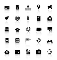 Contact connection icons with reflect on white vector image vector image