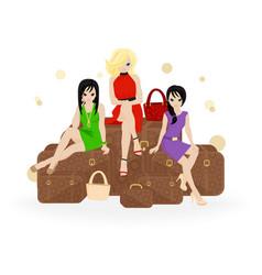 girl traveler vector image