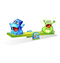Happy monsters playing vector image vector image