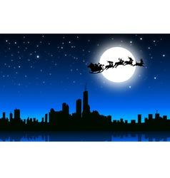 Santa sleigh in Christmas Night on City- vector image