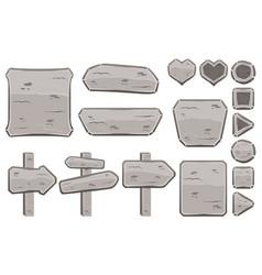 set of cartoon stone signs vector image