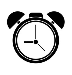 silhouette clock time watch alarm vector image