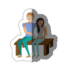 couple sitting together romance shadow vector image
