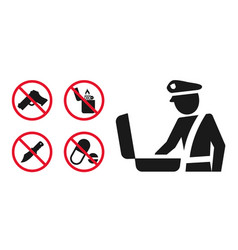 customs control area sign and prohibition icons vector image