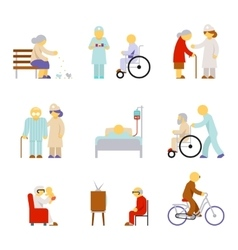 Senior health care service icons vector image