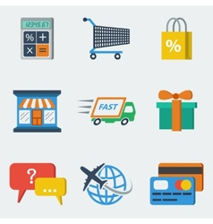 Shopping E-commerce Icons Flat vector image vector image