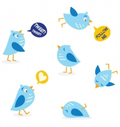 Twitter message birds set vector