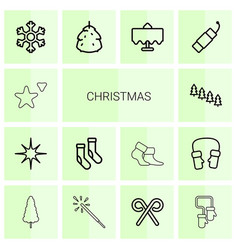 14 christmas icons vector