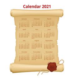 2021 calendar on old paper week starts sunday vector image