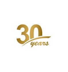 30 years anniversary elegant gold line vector