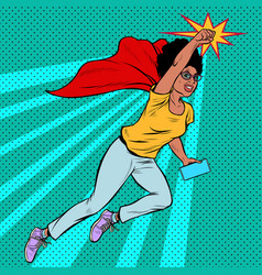 African woman grandmother superhero flying active vector