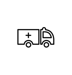 ambulance line icon in flat style icon for apps vector image