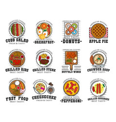 american cuisine food and drink restaurant icons vector image