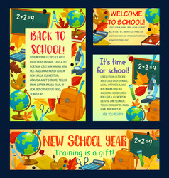 Back to school poster for greeting card design vector