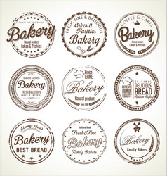 Bakery retro grunge stamp collection vector