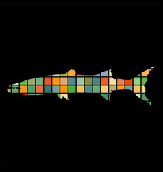 Barracuda fish mosaic color silhouette aquatic vector