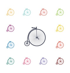 bicycle flat icons set vector image
