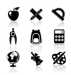 Black School Icons Set vector