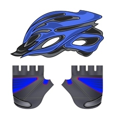 Blue helmet and gloves vector