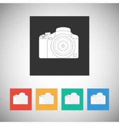 Camera icon on square background with long shadow vector image