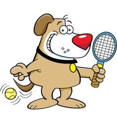 Cartoon dog playing tennis vector