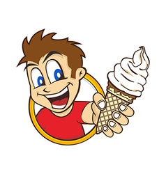 cartoon guy holding ice cream vector image