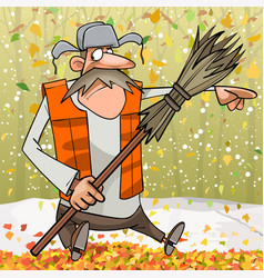 Cartoon janitor with broom pointing finger to the vector