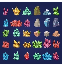 Cartoon Mineral Stones Set vector