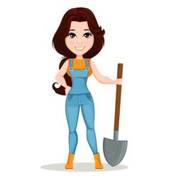 Character beautiful farm woman 1 vector