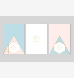 chic geometric card set vector image