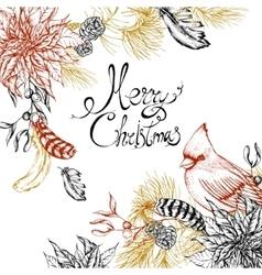 Christmas vintage floral greeting card vector