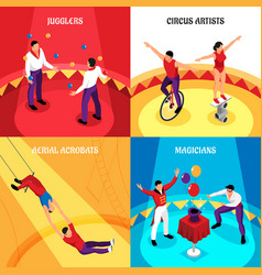 circus professions isometric design concept vector image
