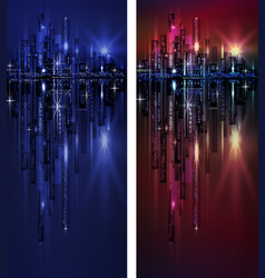 city skyline at night vertical banner vector image