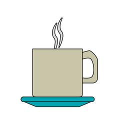 Color image cartoon crockery mug of coffee with vector