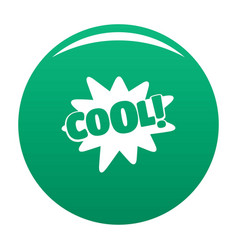 comic boom cool icon green vector image