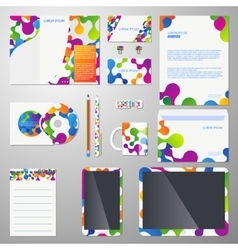 Corporate identity template with colored vector image