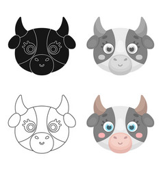 Cow muzzle icon in cartoon style isolated on white vector