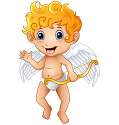 Cute cartoon little cupid waving hand vector