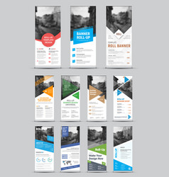 design white roll-up banners with round square vector image
