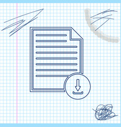 document with download sign line sketch icon vector image