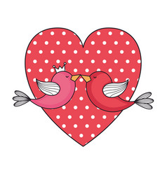 dotted heart love and birds couple valentines card vector image