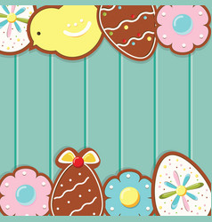 easter background with cookies on blue wooden desk vector image