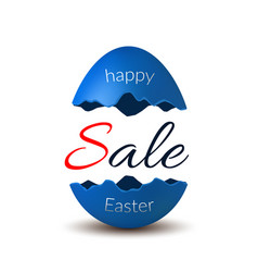 Easter egg text sale happy easter egg 3d template vector