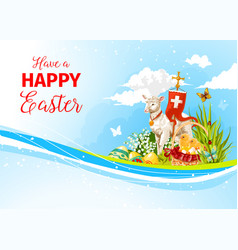 easter greeting paschal passover lamb card vector image