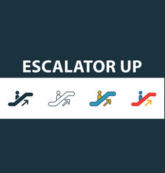 escalator up icon thin line outline style from vector image