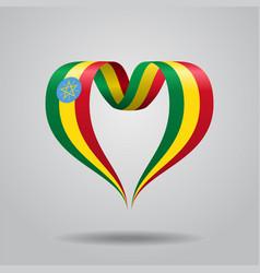 ethiopian flag heart-shaped ribbon vector image