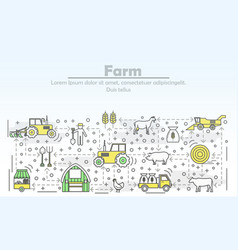 farm advertising flat line art vector image