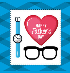 Father day card with glasses and watch decoration vector