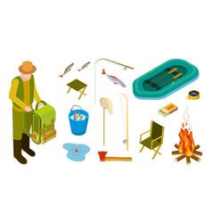 fisherman isometric fishing tools set vector image