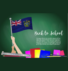 flag of pitcairn islands on black chalkboard vector image